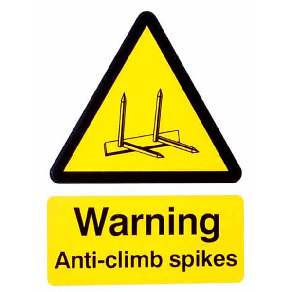 Warning - Anti Climb Spikes