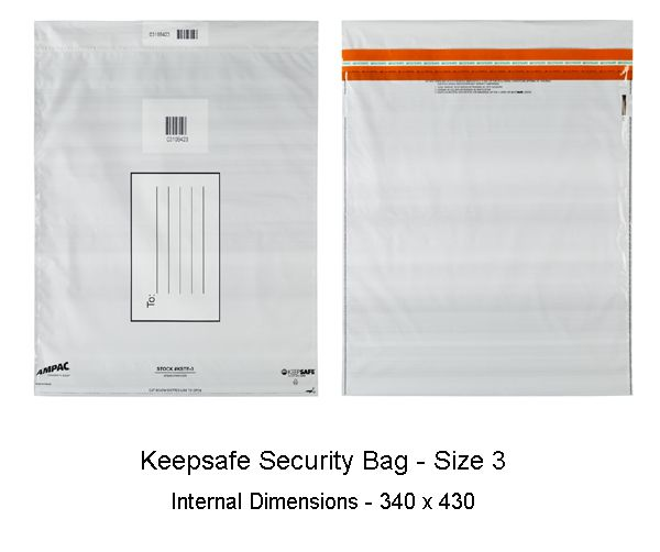 Keepsafe Security Bag Opaque Size 3 pack of 100