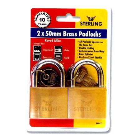 2 x 50mm Keyed Alike Brass Padlocks