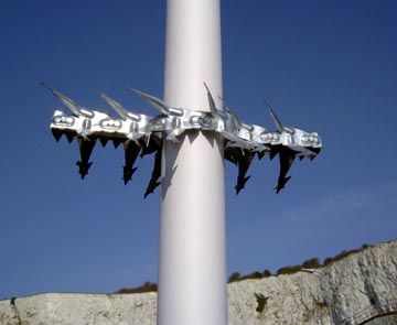 Instant Spiked Anti Climb Collars for CCTV camera poles, etc - for poles from 155mm to 300mm diameter