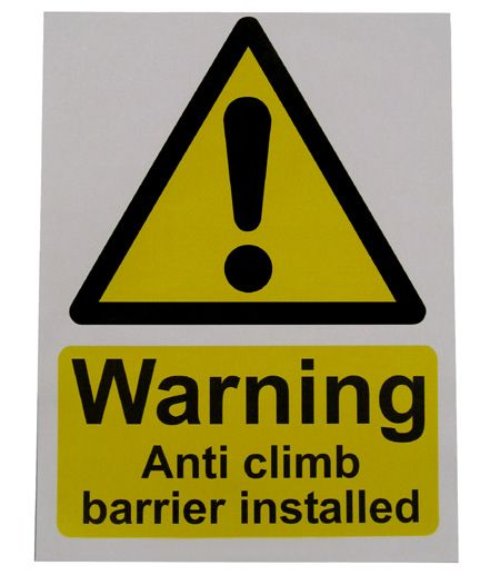 Large Warning Sign - Anti Climb Barrier - HiViz 200 x 150mm