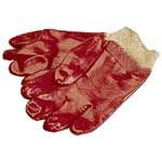 PVC Gloves with Knitted Cuffs - Size:Large  (handling anti climb paint, etc)