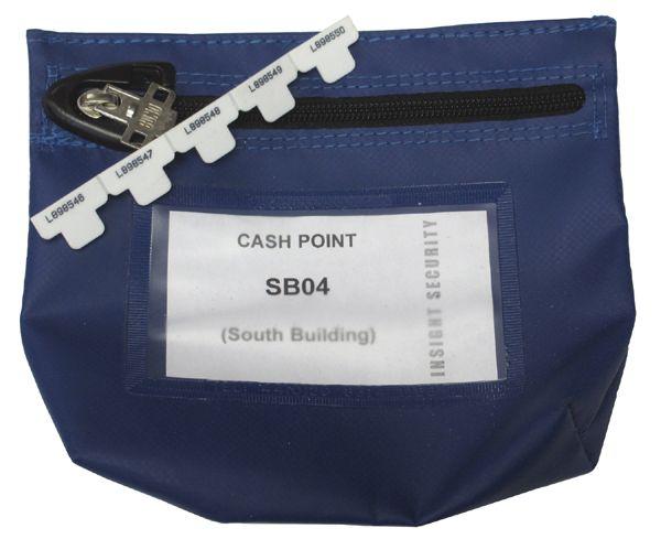 Reusable Zipseal Cash bag (coated nylon);  178 x 152 x 50mm