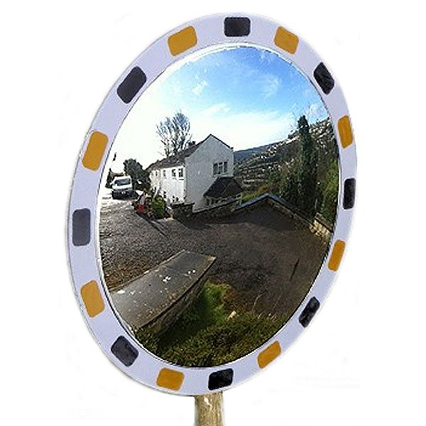 600mm Post Fix Budget White Frame Traffic Mirror - MVD:11mtr