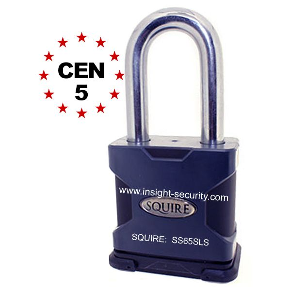 Squire SS65SLS CEN5 High Security 65mm Solid Steel Long Shackle Padlock