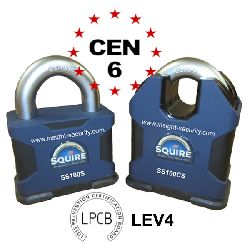 Squire SS100 CEN6 Padlock with twin Restricted R1 lock cylinders
