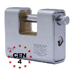 IFAM 80 Armoured Shutter Lock CEN4 Padlock (shackle handle & key-entry same end)