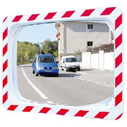 600 x 400mm Unbreakable - Traffic Safety Mirror with Hi Viz Red & White Frame (MVD:9mtr)