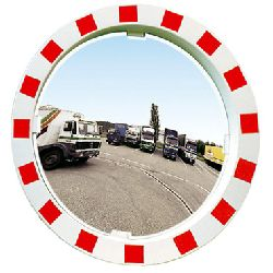 Traffic Mirror 750mm - red/white frame - unbreakable & coated p.a.s (MVD:20mtr)