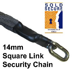 14.0mm Super Quad Sold Secure Gold Chain (Motorcycle) - 0.75 mtr - sleeved
