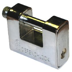 Def Hi-Secure Armoured Shutter Lock Padlocks - 80mm body / 12mm shackle - (shackle handle & key-entry opposite ends)