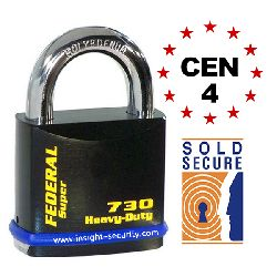 Federal FD730 Ultra Secure Open Shackle Padlocks - CEN4 Rated / Sold Secure Silver (61mm body)
