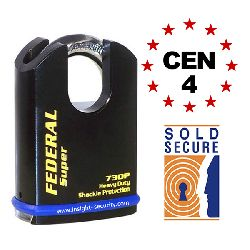 Federal FD730P Ultra Secure Closed Shackle Padlocks - CEN4 Rated / Sold Secure Silver (61mm body)
