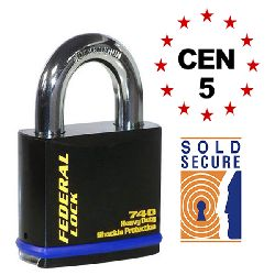 Federal FD740 Ultra Secure Open Shackle Padlocks - CEN5 Rated / Sold Secure Gold (70mm body)