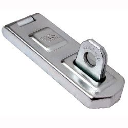 Hardened Steel - Hinged Security Hasp and Staple with fixings  (100 x 35mm - 10.0mm shackle diam)