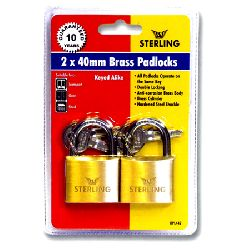 2 x 40mm Keyed Alike Brass Padlocks