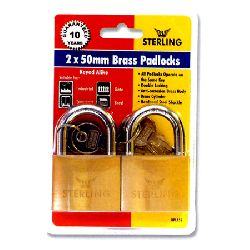 2 x 50mm Keyed Alike Brass Padlocks