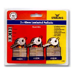 Keyed Alike - 40mm Laminated Steel Padlocks - pack of 3