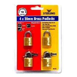 4 x 20mm Keyed Alike Brass Padlocks