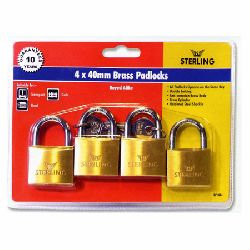 4 x 40mm Keyed Alike Brass Padlocks