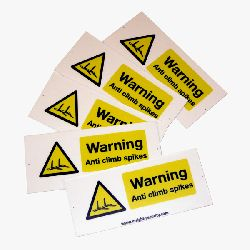 Compact Hi Viz Warning Sign - Anti Climb Spikes - HiViz 100 x 45mm - multisaver 5 pack