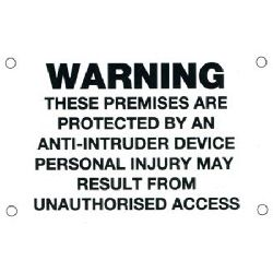 Warning Sign - Anti-Intruder  (size 85x55mm) - black text/white background