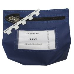 Reusable Zipseal Cash bag (coated nylon);  178 x 152 x 50mm