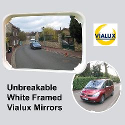 Unbreakable White Framed Mirror Vialux PMR - choice of sizes