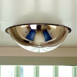 Institution Ceiling Dome Anti-ligature Mirror - Stainless Steel 500mm diam