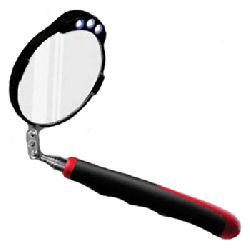 Compact personal folding pocket search / inspection mirror (85mm diam) with LED lights
