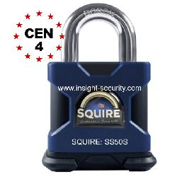 Squire SS50S 50mm High Security Solid Steel Open Shackle Padlock CEN4