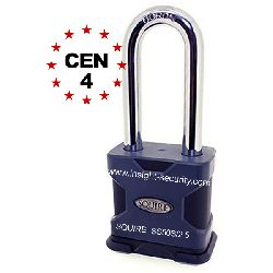 Squire SS50S/2.5 CEN4 High Security 50mm Solid Steel Long Shackle Padlock
