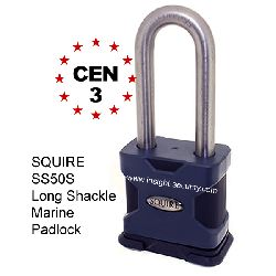 Squire SS50S/2.5/MAR CEN3 50mm Solid Steel Long Shackle MARINE PADLOCK