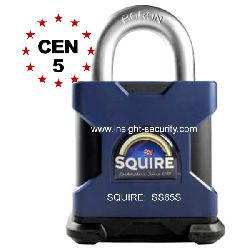 Squire SS65S CEN5 High Security 65mm Solid Steel Open Shackle Padlock
