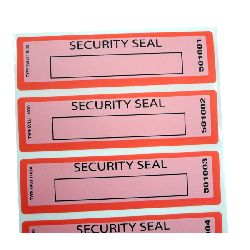 Red Void Tape Seal - size 110x30mm - roll of 1,000 seals