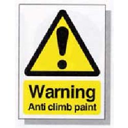 Small Warning Sign - Anti Climb Paint - individual sign  (size: 150 x 100mm)