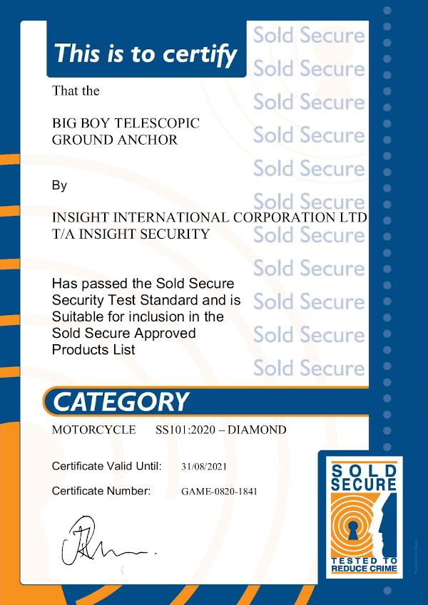 big boy sold secure motorcycle diamond certificate