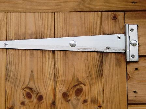 Hinge Fixed With Coach Bolts On Shed Door