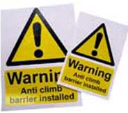 anti climb barriers warning sign
