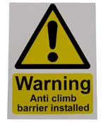 Anti-climb Barrier Large Warning Sign