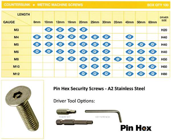pin hex stock sizes machine screws csunk