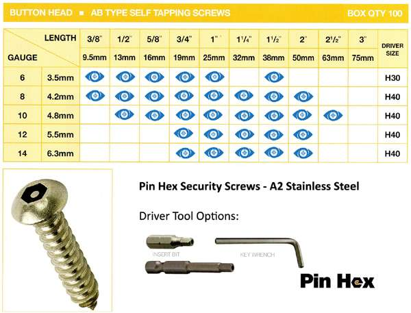 pin hex stock sizes self button head