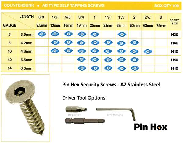 pin hex stock sizes self tapper csunk