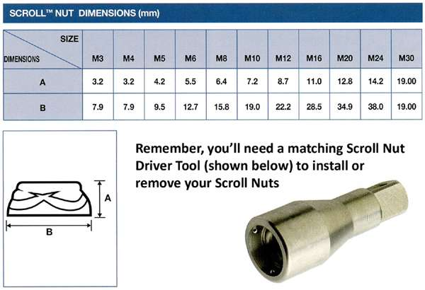 scroll nut dimensions
